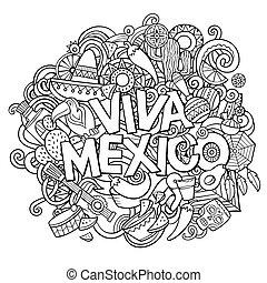 Viva Mexico sketchy outline festive background. Cartoon...