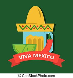 viva mexico tequila lemon and hat mexican chili pepper banner