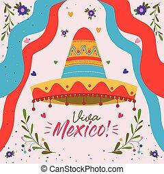 viva, ornamental, mexikansk, farverig, mexico, plakat, bånd, hat