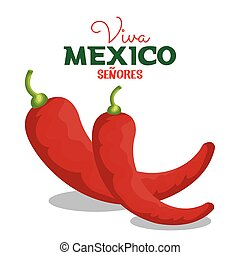 viva, poivre, graphique, mexique, piment, icône
