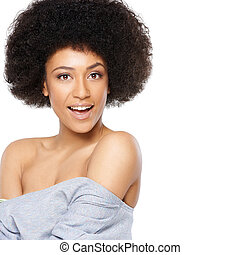 Vivacious beautiful African American woman with a wild afro...