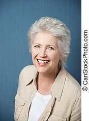 Vivacious elderly woman - Vivacious beautiful grey haired...