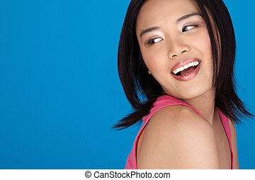 Vivacious laughing Asian woman