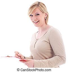 Vivacious secretary taking notes - Vivacious young blonde...