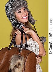 Vivacious Young Woman Carrying Bag - Vivacious young woman...