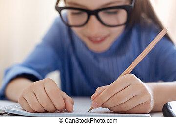 vivamente, dedicado, estudante, fazer anota