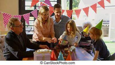 vivant, anniversaire, gâteau décorant, 4k, salle famille