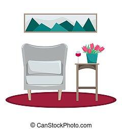 vivant, area., récréation, plat, bouquet, fauteuil, isolé, verre, room., vecteur, tulipes, intérieur, figure., vin, table., illustration.