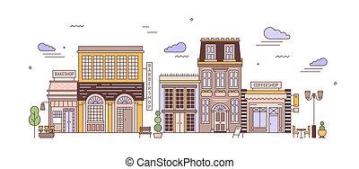 vivant, bâtiments, art, coloré, district, urbain,...