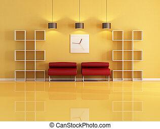 vivant, bibliothèque, salle, vide