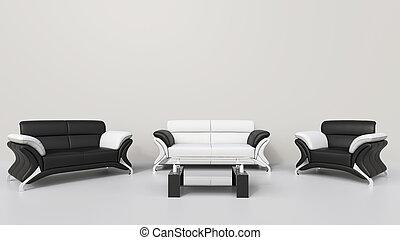 vivant, blanc, contemporain, salle