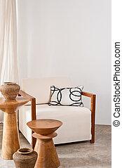 vivant, blanc lumineux, salle, fauteuil