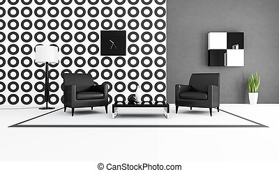 vivant, blanc, noir, salle