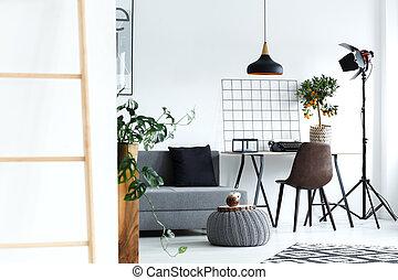 vivant, blanc, salle, minimaliste