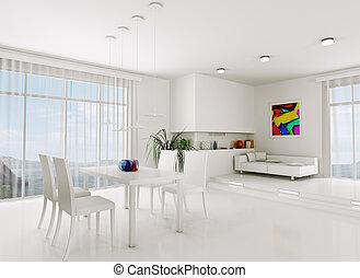 vivant, blanche salle, render, 3d