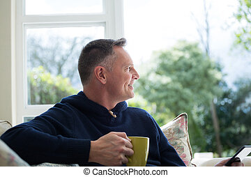vivant, café, avoir, tasse, homme, pensif, salle