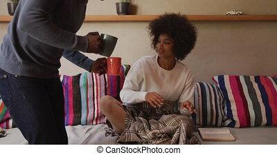 vivant, café, couple, boire, salle