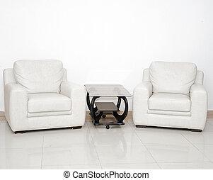 vivant, café, salle, fauteuil, moderne, détail, table verre, blanc