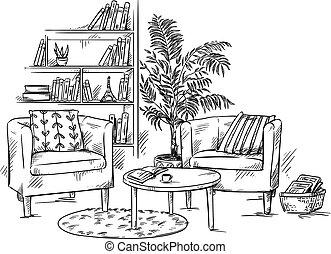 vivant, café, teble, room., deux, illustration, vecteur, étagère, fauteuils