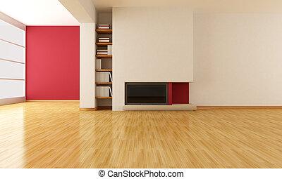 vivant, cheminée, salle, vide, minimaliste