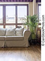 vivant, clair, salle, sofa