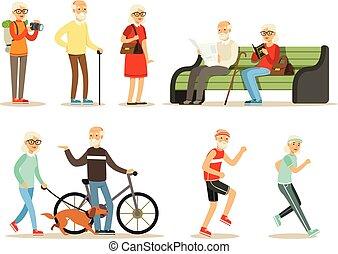 vivant, collection, gens, apprécier, vieux, vivant, passe-temps, personnes agées, dessin animé, entiers, loisir, leur, caractères, sourire