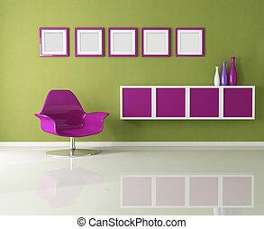 vivant, coloré, salle
