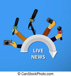 vivant, concept, entrevues, nouvelles, rapports