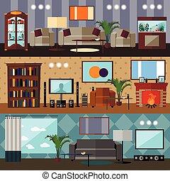 vivant, concept, salle, furniture., plat, illustration, ...