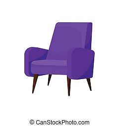 vivant, confortable, plat, pourpre, fauteuil, room., clair, vecteur, legs., chaise bois, meubles, doux, upholstery., icône
