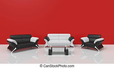 vivant, contemporain, rouges, salle