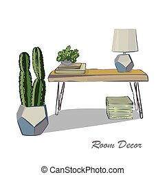 vivant, croquis, éléments, flat., moderne, illustration, conception, intérieur
