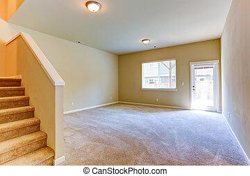 vivant, deck., salle, maison, walkout, intérieur, vide