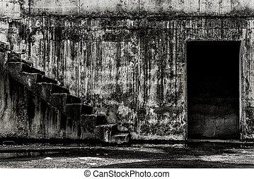 vivant, endroit, bâtiment, fantôme, abandonnés
