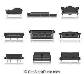vivant, ensemble, divans, icônes, moderne, sofas, vecteur, luxe, illustration., meubles, salle