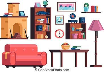 vivant, ensemble, salle, collection, intérieur, meubles