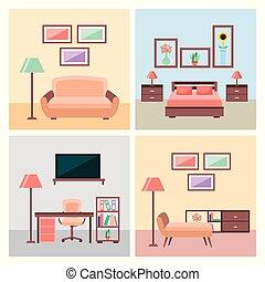 vivant, ensemble, salle, icônes, maison, chambre à coucher, intérieur, meubles