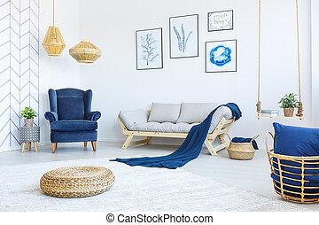 vivant, fauteuil, salle, nouveau
