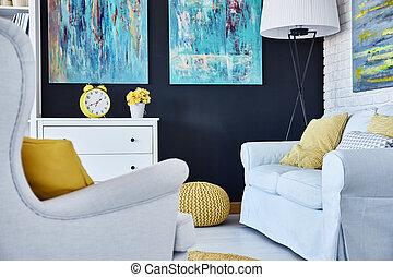 vivant, fauteuil, salle, sofa