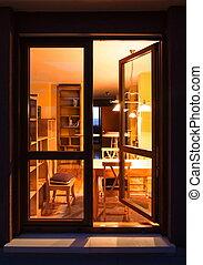 vivant, fenêtre, salle