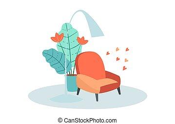 vivant, flowerpot., salle, fauteuil, abat-jour, intérieur