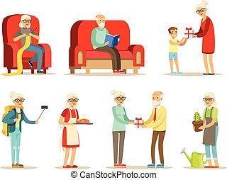vivant, gens, apprécier, vieux, vivant, passe-temps, personnes agées, dessin animé, entiers, loisir, ensemble, leur, caractères, sourire