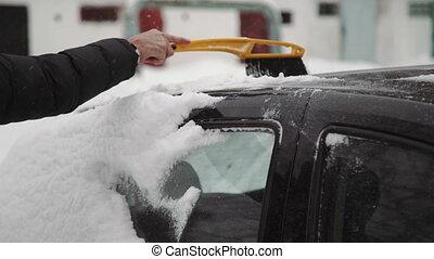 vivant, hiver, concept, gens, maison, véhicule, -, neige, district., brosse, voiture, temps, homme, transport, nettoyage