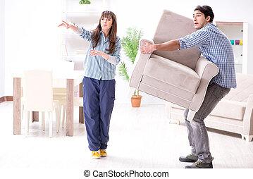 vivant, homme, en mouvement, salle, fauteuil