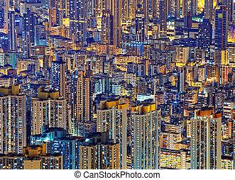 vivant, hong kong, en ville, nuit, public