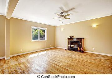 vivant, house., cheminée, salle, vide