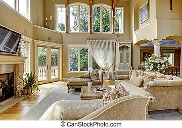 vivant, interior., salle, luxe, maison