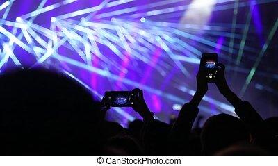 vivant, laser, concert., exposition, musique, festival