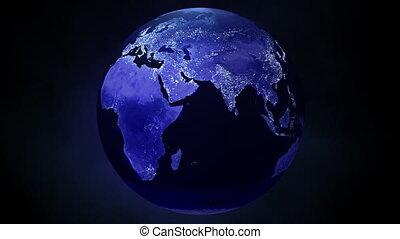 vivant, lentement, la terre, 4k, lumières, sombre, planète, froid, ville, vient