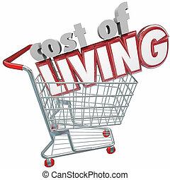 vivant, marchandises, achats, coût, charrette, cout, ...